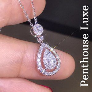 Pear Diamond Double Halo Sterling Silver Necklace